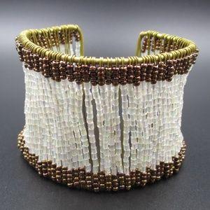 Jewelry - Vintage Rustic Handmade Beaded Cuff Bracelet